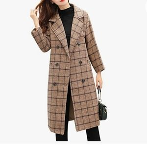 Elnora Women's Double Breasted Long Plaid Wool Blend Pea Coat Outerwear NWT